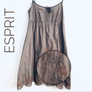 EUC ESPRIT Cotton Spaghetti Summer Dress Brown